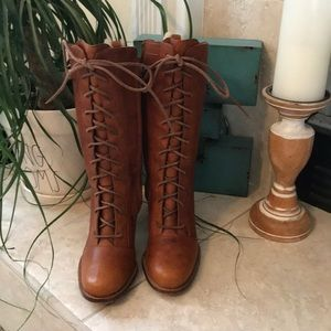 UGG Brown Leather Distressed Lace Heeled Boots